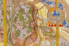 Hvil ved stor stein Pastell 78x78 cm 10000 mr