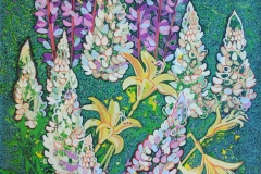 Liljer og lupiner Akrylmaleri 104,5x75 cm 10000 ur