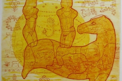 Dagryttere Collagrafi 38x45,5 cm 3500 ur