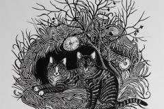 Katter Linosnitt 33x37 cm 1800 ur