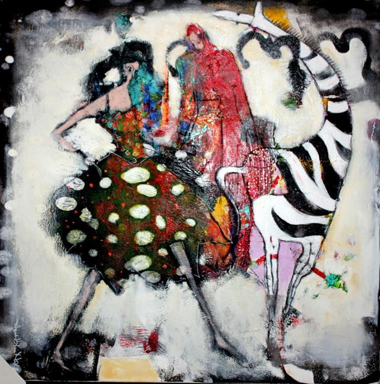 Dance with a stranger Akrylmaleri 60x60 cm 6000 mr