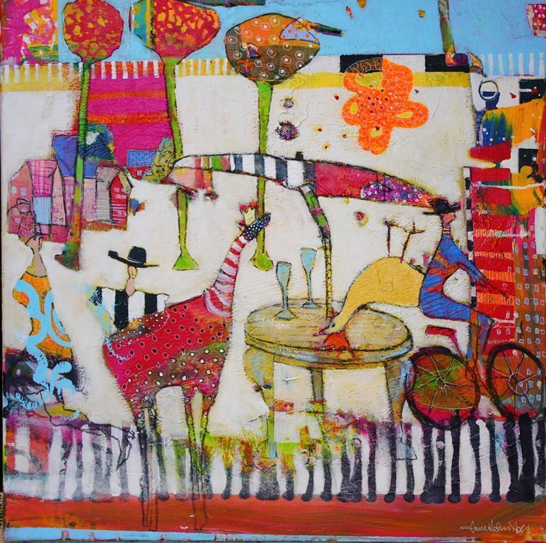 Det er min sykkel Akrylmaleri 70x70 cm 7000 ur