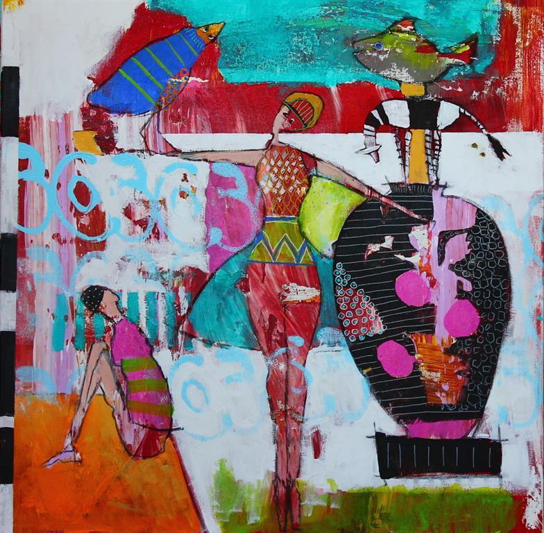 Fugl eller fisk Akrylmaleri 60x60 cm 6000 ur