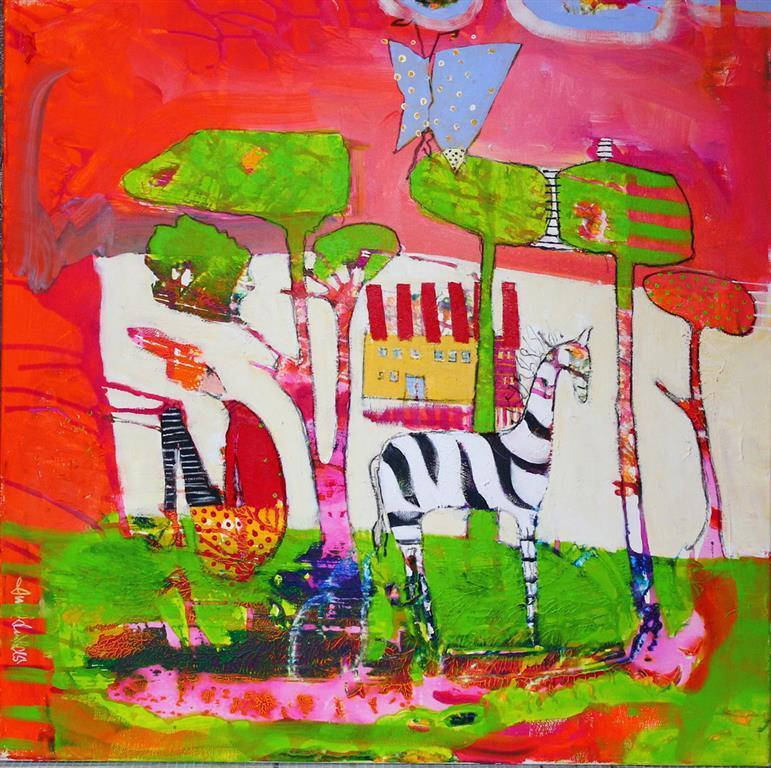 Tankeflukt Akrylmaleri 70x70 cm 7000 ur