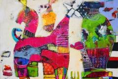 Det meste av tiden Akrylmaleri 70x70 cm 7000 ur