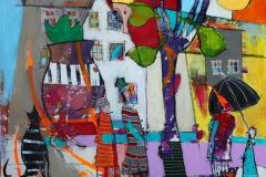 Gullfuglen kaster ikke skygge Akrylmaleri 60x60 cm 6000 ur