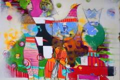 Hvis tiden ventet Akrylmaleri 100x100 cm 10500 ur