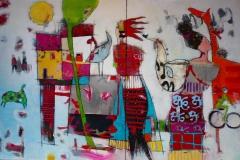 Saxofonistens reise Akrylmaleri 100x150 cm 15000 ur