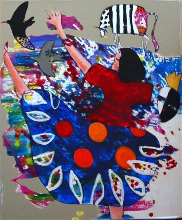 Den sorte fuglen synger Akrylmaleri (60x50 cm) kr 6000 mr
