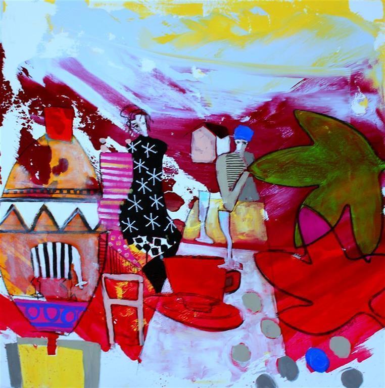 Lyse netter Akrylmaleri (85x85 cm) kr 9000 ur