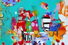 Babettes nye gjester Akrylmaleri (100x100 cm) kr 11000 ur