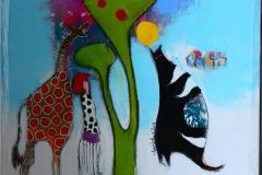 Den sorte katten ventet pa meg Akrylmaleri (40x40 cm) kr 4500 mr