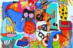 Fantasien er en fugl Akrylmaleri (100x100 cm) kr 11000 ur