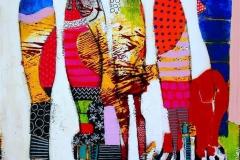 Fire vise og en klok Akrylmaleri (40x40 cm) kr 4500 mr
