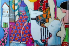Hvem venter Akrylmaleri (70x50 cm) kr 6500 mr