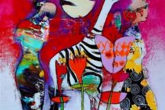 Hvis det snor Akrylmaleri (100x100 cm) kr 11000 ur