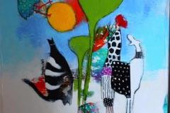 Kattelatter Akrylmaleri (40x40cm) kr 4500 mr