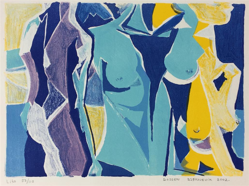 Blå dame. Litografi (22x30 cm) kr 1500 ur