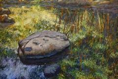 Steiner i elven nr 9 Oljemaleri 40x50 cm 3000 ur