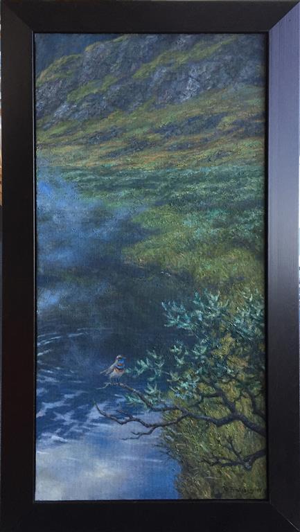Morgen i fjellheimen (blåstrupe) Oljemaleri (100x50 cm) kr 38000 mr