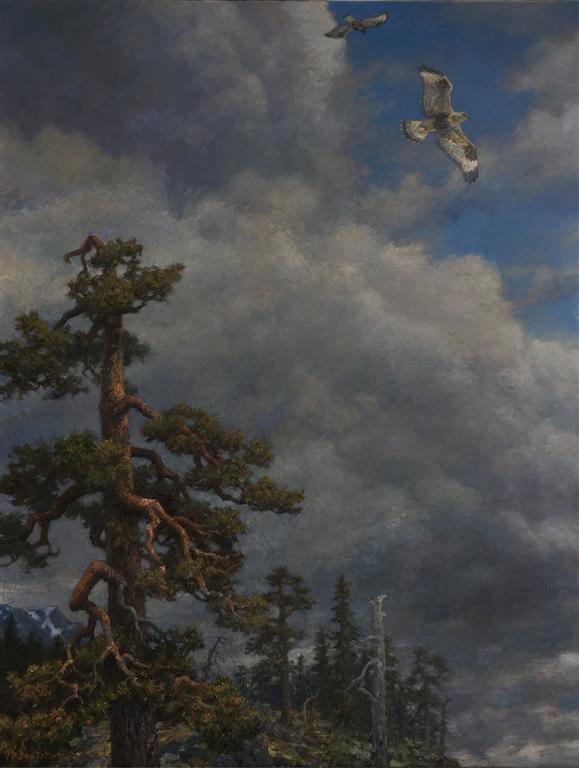 Skylandskap (fjellvåkpar) Oljemaleri (130x100 cm) kr 75000 ur