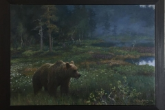 Bjørn i myrlandsskap Oljemaleri (70x100 cm) kr 55000 mr