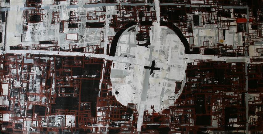 By 40.6(49) Akrylmaleri 75x148cm 9000,-kr u.r.
