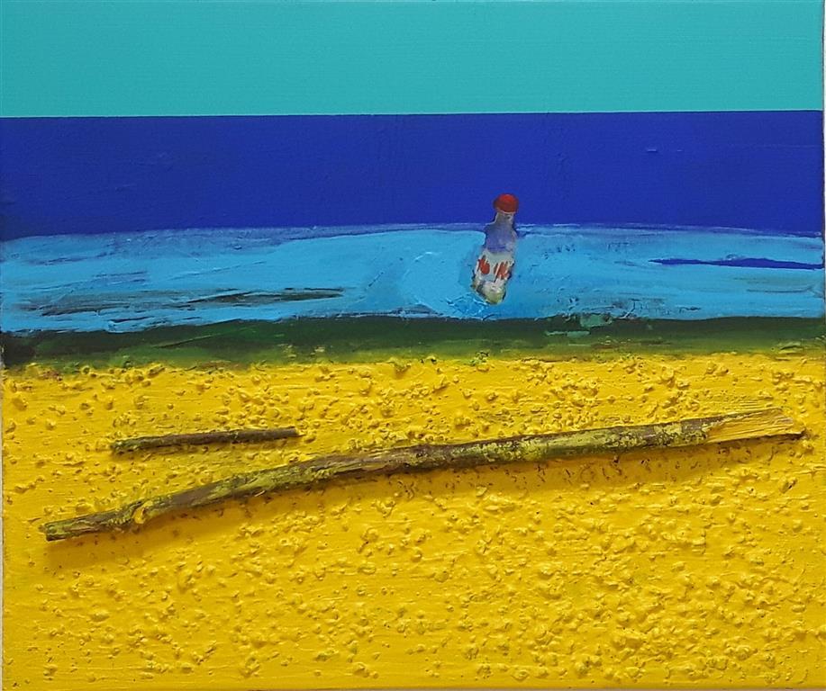 Shoreline V Akryl-mixed media på lerret (47x55 cm)