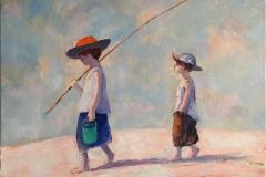 Fiskere Maleri (38x45 cm) kr 6000 ur
