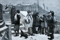 Minne fra St.Petersburg I Gouache, tush 42,5x54,5cm 3000,-kr u.r.