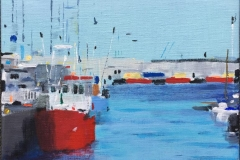 Astrid Hygom Esbjerg Havn III Akrylmaleri (35x35 cm) kr 3200 ur