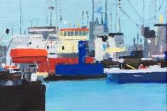 Astrid Hygom Esbjerg Havn IV Akrylmaleri (35x35 cm) kr 3200 ur
