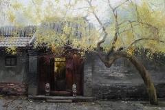 Hus i Kina Oljemaleri 89x89cm 15000,-kr u.r.