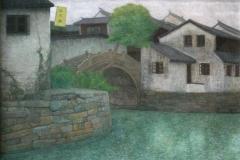 Landsby-bilde I Temperamaleri 40x50cm 12000,-kr m.r.