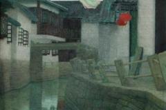 Landsby-bilde II Temperamaleri 50x40cm 12000,-kr m.r.