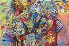 Sha(wo)mans spiritual journey Oljemaleri 80x80 cm 10000 ur