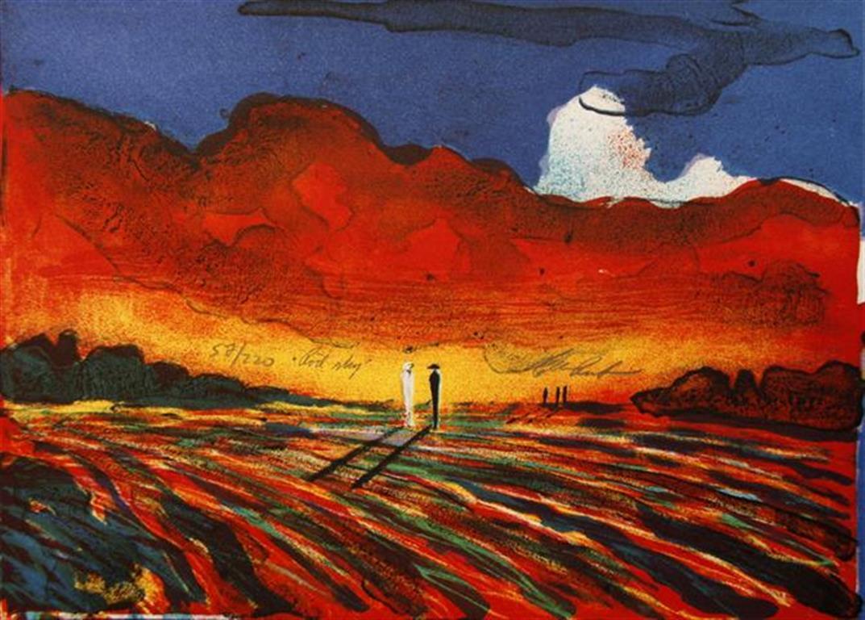 Roed sky Litografi 21,5x30 cm 1700 ur