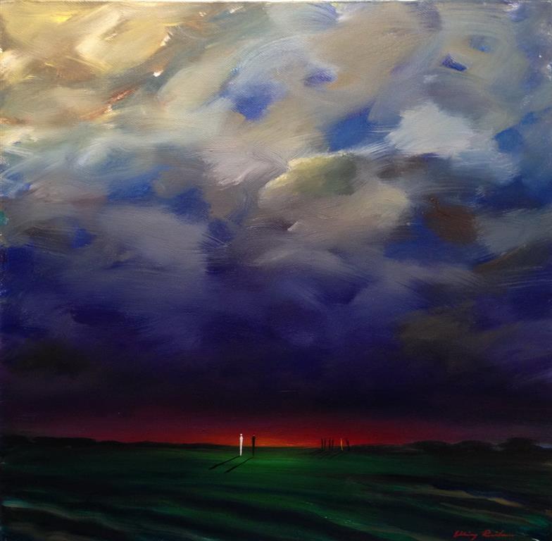 Roed horisont Oljemaleri 40x40 cm 19000 ur