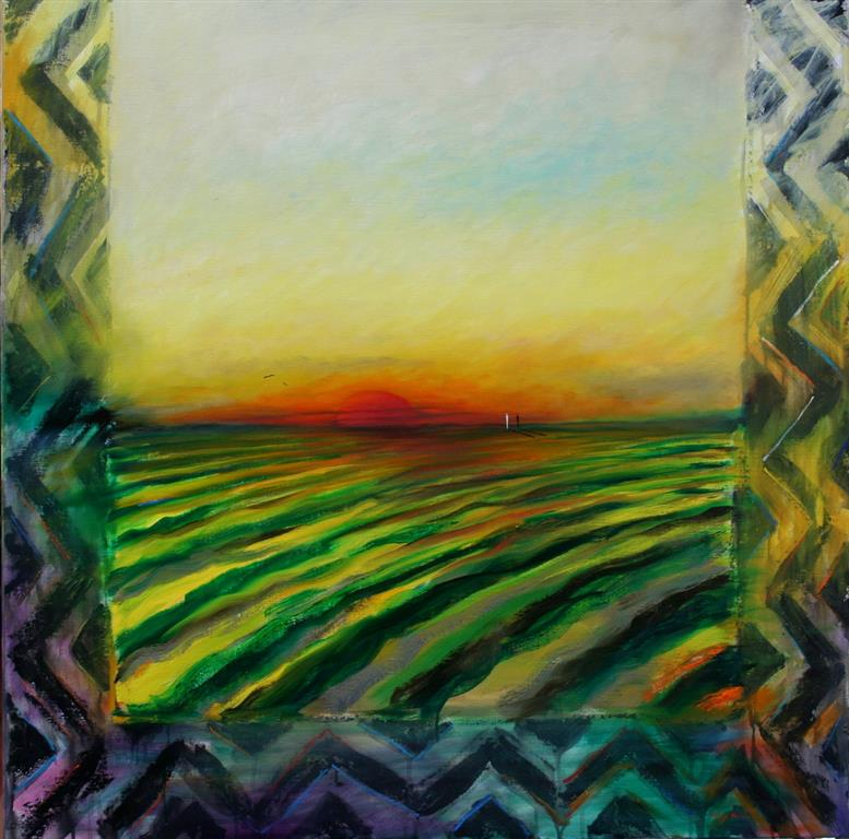 Solnedgang Oljemaleri 100x100 cm 58000 ur