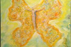 Gul sommerfugl Oljemaleri 50x40 cm 19000 mr