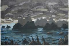 Lofoten Tresnitt 46x69 cm 2100 ur