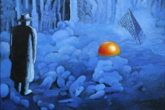Pyramiden og appelsin Akryl paa plexiglas 30x40 cm 8000,-kr m.r.