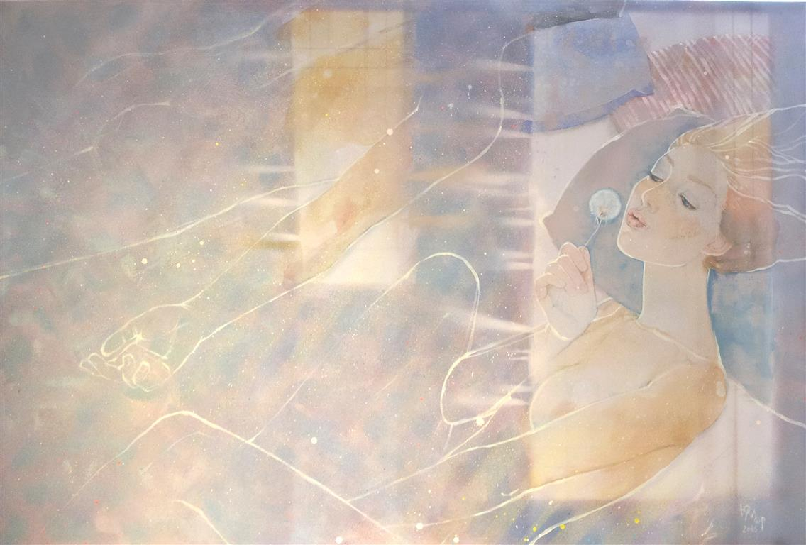 Mens du sover Akrylmaleri (80x120 cm) kr 15000 ur