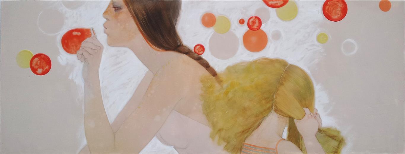 Såpebobler Akvarell på lerret (45x117 cm) kr 10000 ur