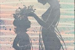 Hemmelighet I Linosnitt håndkolorert (29x22 cm) kr 1500 ur