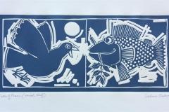 Fish of Peace Linosnitt (19x40 cm) kr 1700 ur