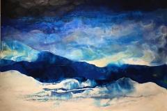 Blå vinter Encaustic (100x100 cm) kr 12000