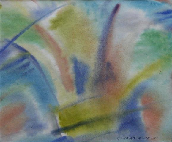 Komposisjon 12 Akvarell (23x28 cm) kr 1000 ur