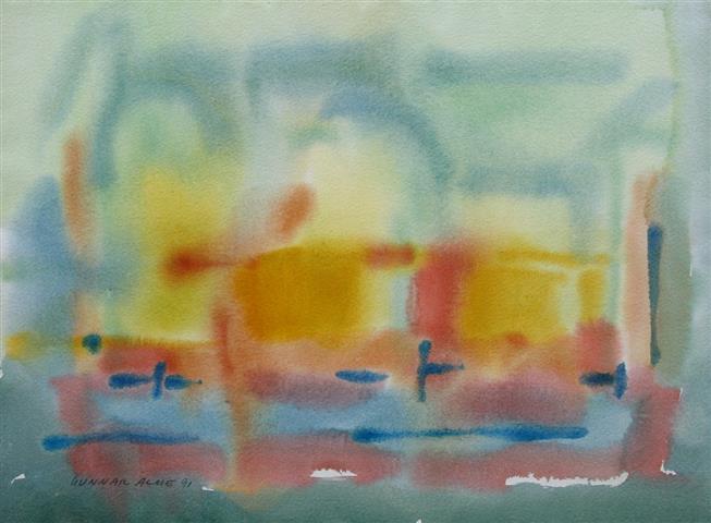 Komposisjon 6 Akvarell (36x48 cm) kr 3000 ur