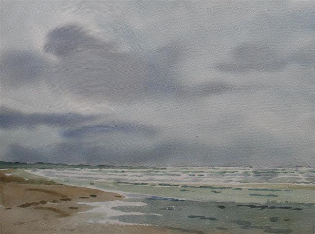 Jærstrand Akvarell (36x48 cm) kr 3000 ur